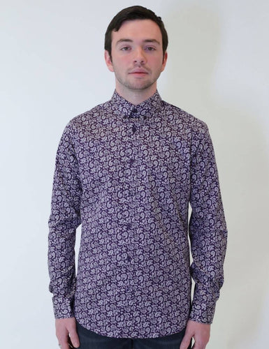Violet Paisley Printed Dress Shirt