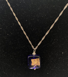 Square Murano Glass Pendant Necklace