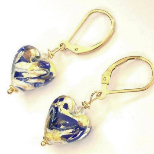 Blue & Gold Murano Glass Earrings