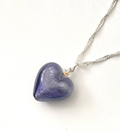 Purple Murano Glass Heart Necklace