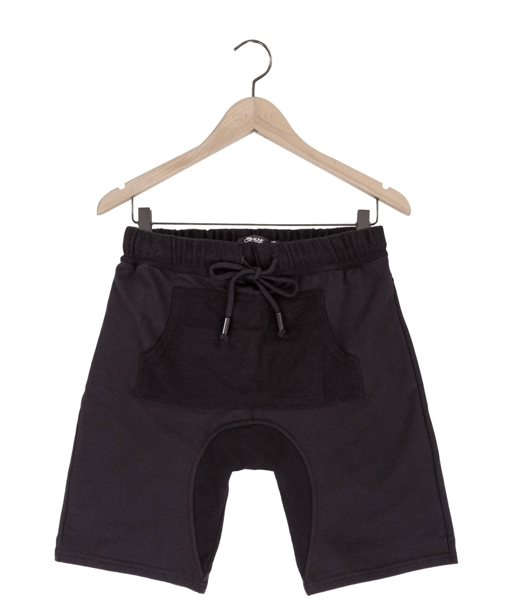 Jasper drop crotch french terry shorts in black