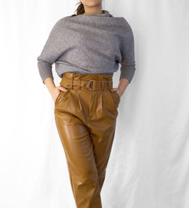 KIM BELTED VEGAN LEATHER PANTS