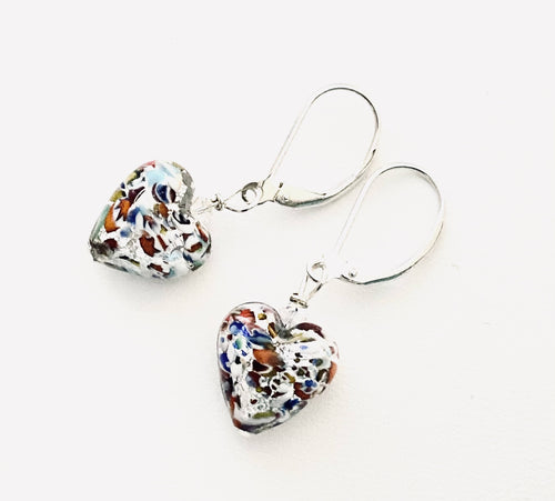 Silver Klimt Inspired Heart Earrings