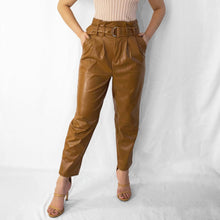 Load image into Gallery viewer, KIM BELTED VEGAN LEATHER PANTS