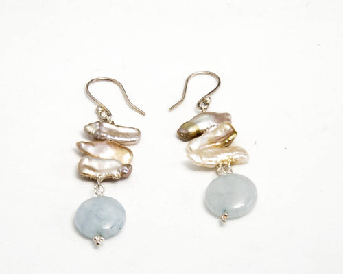Biwa Fresh Water Pearls and Aquamarine Earrings
