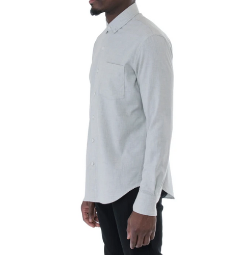 United Stock Dry Goods - Light Grey Herringbone Shirt