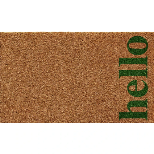 Doormat Natural & Green Vertical Hello