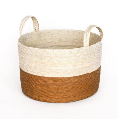 Two-Toned Natural Basket in Mustard