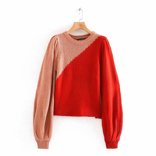 O Neck Orange Puff Sleeve Sweater