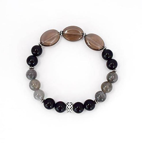 Protection and Grounding - Smoky Quartz, Labradorite and Black Onyx Stretch Bracelet