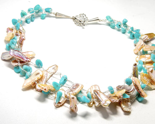 Biwa Fresh Water Pearls with Peruvian Opal Multi strand Necklace