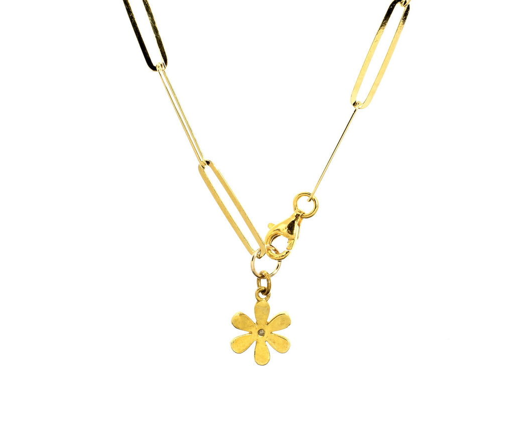 Gold Paper Clip Chain with Flower