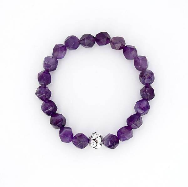 Third Eye Chakra and Crown Chakra Balancing – Amethyst (Large Cut) and Sterling Silver Stretch Bracelet