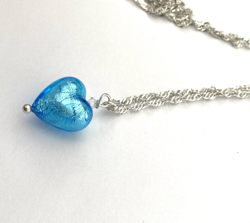 Turquoise Blue Murano Heart Charm Necklace