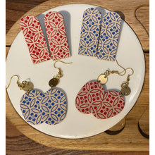 Load image into Gallery viewer, Red and Blue Floral Pattered Earrings