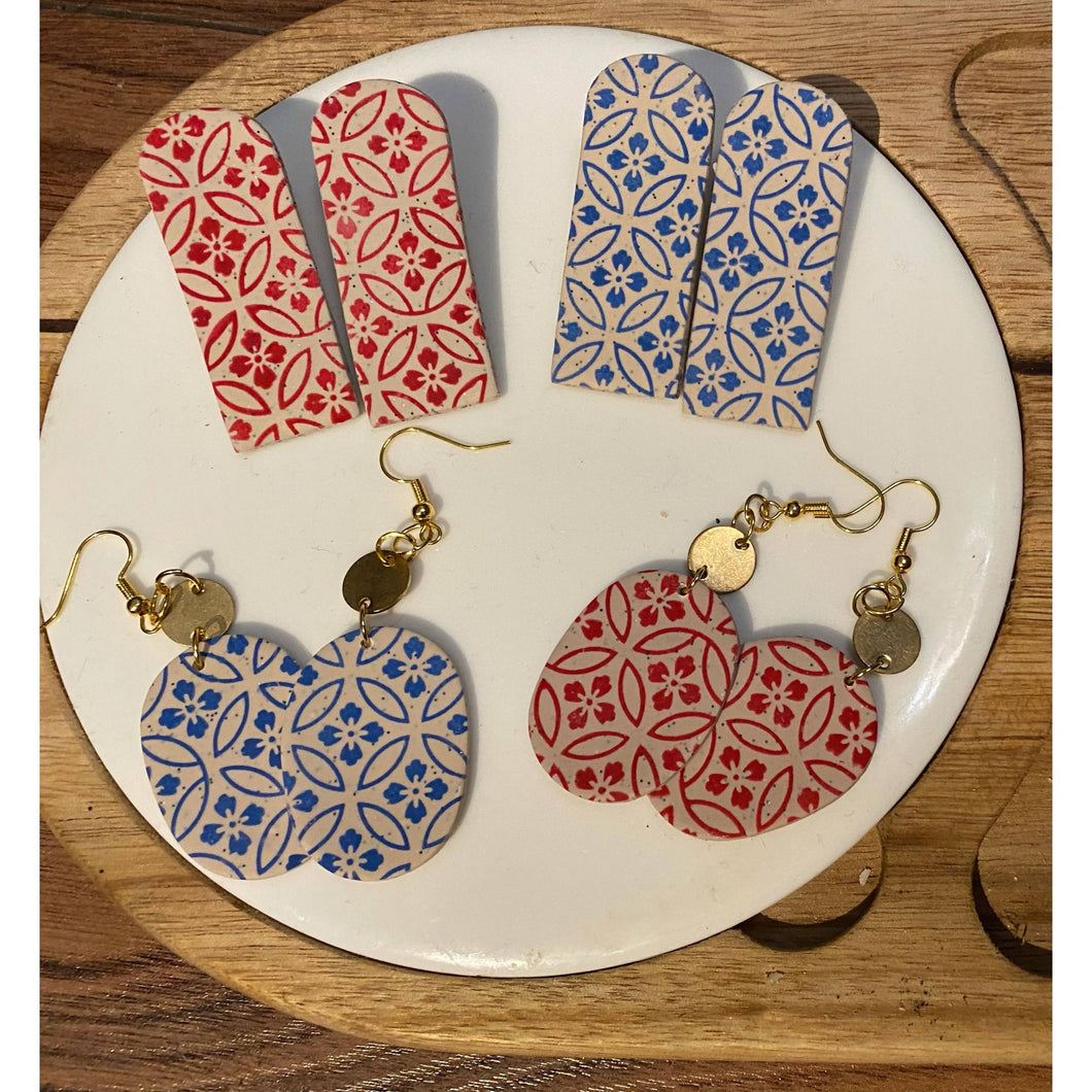Red and Blue Floral Pattered Earrings