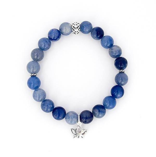 Throat Chakra Balancing - Blue Aventurine and Sterling Silver Stretch Bracelet