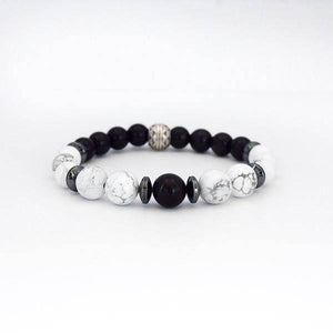 Balance and Inner Peace - Black Obsidian, Howlite and Hematite Stretch Bracelet