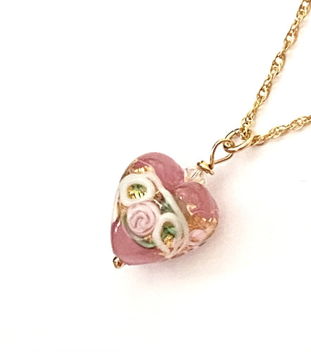Pink Rose Murano Glass Necklace