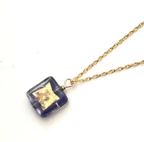 Square Purple Murano Glass Pendant Necklace