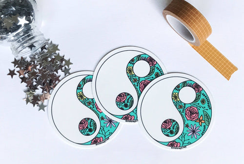 Turquoise Floral Yin Yang Sticker