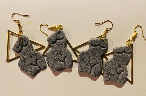 Venus De Milo -Polymer Clay Earrings With Gold Triangle Charm