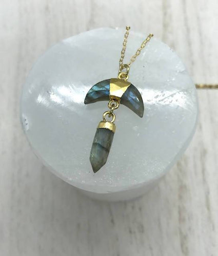 Gold Dipped Labradorite Moon Pendulum Necklace StellaLuna Creations