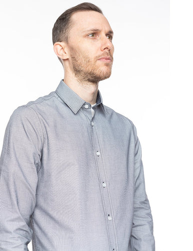 Grey Textured Button-Up Shirt