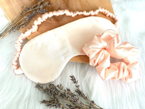 Satin Sleep Mask + Scrunchie Set | Lavender Relaxation Set