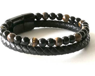Men's Tiger Eye and Braided Leather Bracelet