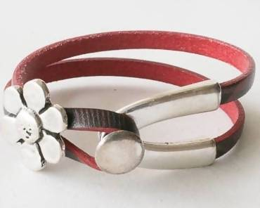 Leather Bracelet with Flower Pret-A-Porter Jewels Red