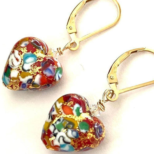 Red Gold Heart Earrings