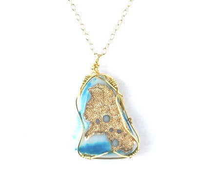 Blue and Gold Druzy Pendant