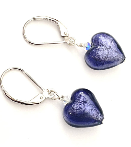 Purple Murano Glass Heart Earrings