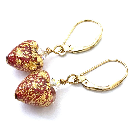 Red Gold Murano Heart Earrings
