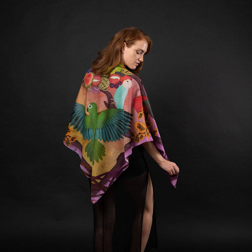 Sunset Feast Large Silk Cotton Scarf Shawl