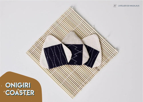 Set of 4 Handmade Eco friendly and Cute Fabric Coasters - Japanese Rice Ball (Onigiri) L'atelier de MagKlaus