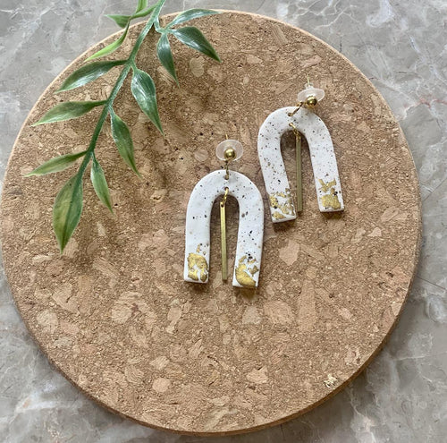 Speckled Statement Clay Arch Earrings The Clay Moment