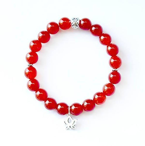 Sacral Chakra Balancing Carnelian and Sterling Silver Stretch Bracelet
