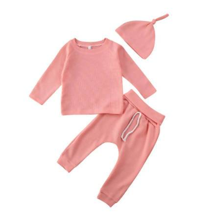 The Waffle Collection Blissful Bootique Baby Doll Pink Waffle Set 6 Months