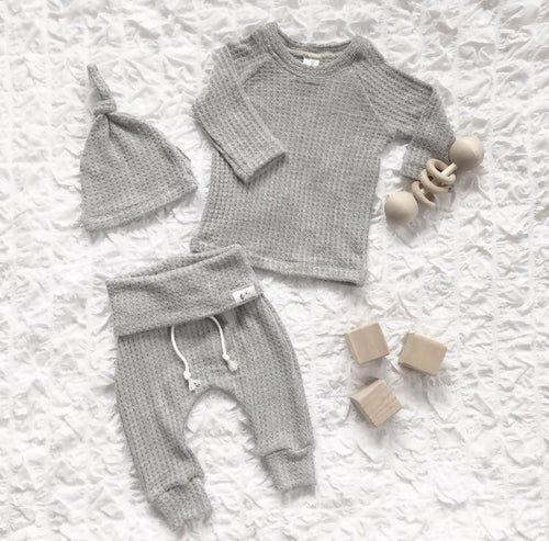 The Waffle Collection Blissful Bootique Sky Grey Waffle Set 6 Months