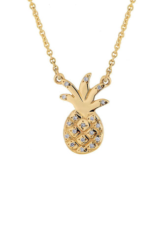TROPICAL GOLDEN PINEAPPLE NECKLACE Traveling Blonde Jewellery