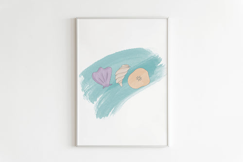 Seashells Bedroom Print, Wall Art