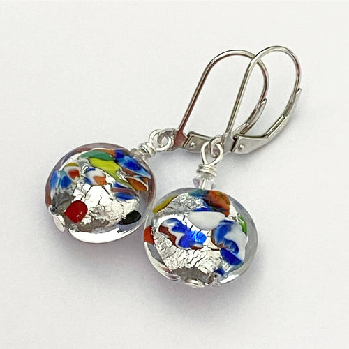 Klimt Inspired Murano Glass Earrings