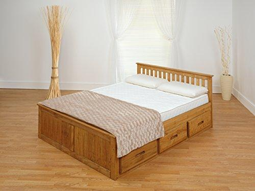 Amani International 4 ft 6 Mission Bed Waxed (2 Partes), pino, Doble