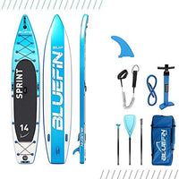 "Bluefin Sprint SUP Touring Package | 14' Stand Up Inflatable Paddle Board | 6"" Thick 