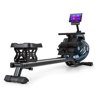 Capital Sports Flow M2 Water Rowing Machine Rowing Bench - Home Training Device, Even & Joint-Gentle Training, 80cm Long Slide, Water Resistance: 6 Steps/Max. 14 L, Space-Saving, Black/Silver