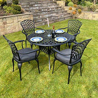 Charles Bentley Outdoor Dining Table Set in Black Aluminium with 4 Chairs and Grey Padded Cushions