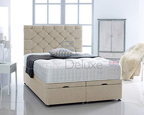 Chenille Fabric Ottoman Side Lift Bed Base con HEADBOARD SOLAMENTE por Comfy Deluxe LTD (Cream, 5FT King-Size)