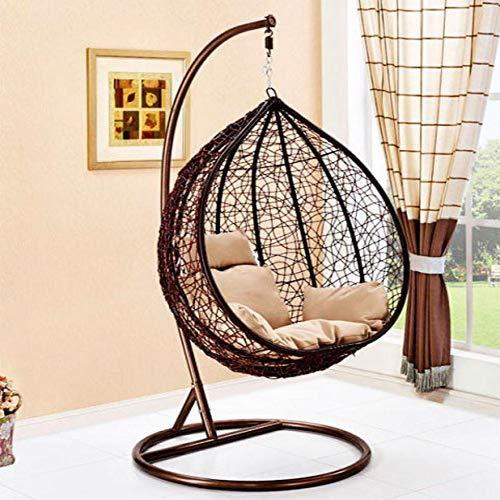 CSS R_BROWN1 Hanging Rattan Swing Patio Garden Chair Weave Egg Indoor or Outdoor with Cushion Brown Large